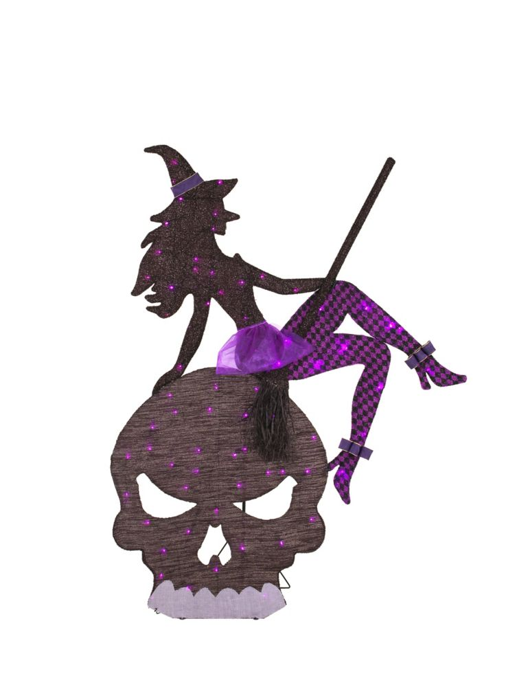 65-inch Witch and Skull Halloween Decoration