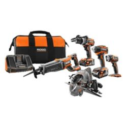 RIDGID 18V Li-Ion Brushless Combo Kit (5-Tool)