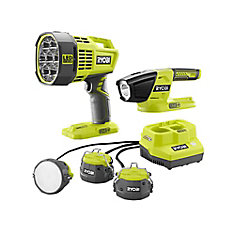 18V ONE+ Lithium-Ion Cordless 3-Tool Lighting Kit w/Cable Lights, Spotlight, and LED Light (Tools Only)