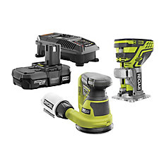 ONE+ 18-Volt Cordless Lithium-Ion Woodworking Combo Kit (2-Tool) with (1) 1.3 Ah Battery and Charger