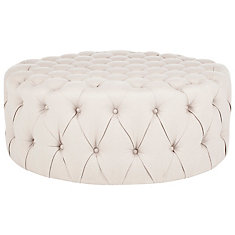 Charlene Tufted Ottoman in Taupe
