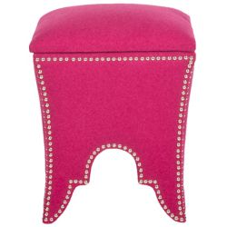 Safavieh Deidra Ottoman with Silver Nail Heads in Berry
