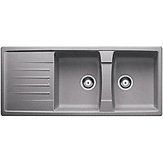 Lexa 8S Top Mount Kitchen Sink - Metallic Gray SILGRANIT Granite Composite