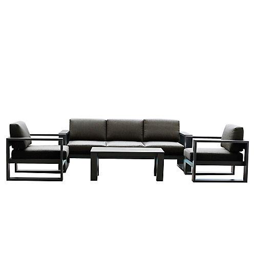 Cassara 4-Piece Aluminum Patio Lounge Set