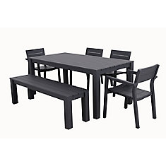 Cassara Ensemble de salle à manger extérieure en aluminium de 6 pièces