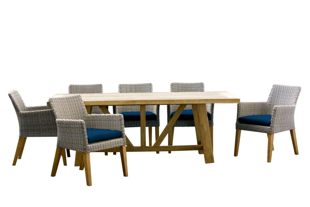 Patio Plus Indo 9-Piece Teak/Wicker Rectangular Dining Set