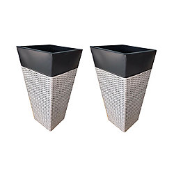 Grapevine Zinc and Wicker Planter (2-Pack) -Light Grey and Black