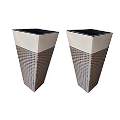 Zinc and Wicker Planter 2 Pack - Brown and Tan