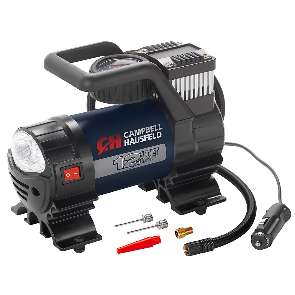 Mighty 12V 150 PSI Portable Inflator with Safety Light and Accessories