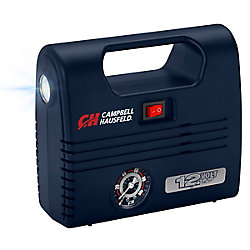 Campbell Hausfeld Portable 12 Volt Inflator, with LED Light, 100 PSI and Nozzles