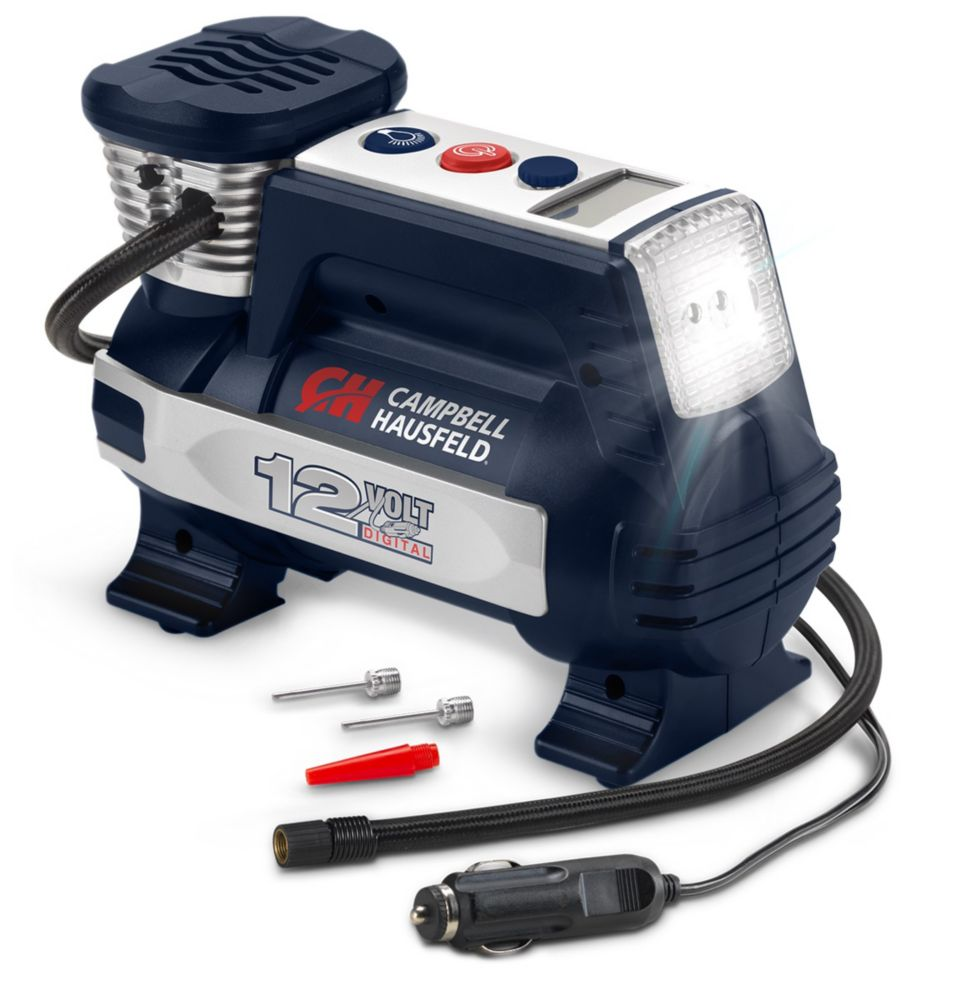 Campbell Hausfeld Powerhouse Digital Inflator, Auto Shut-Off, 12V 100 PSI & Safety Light