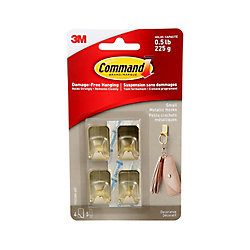 Command Small Metallic Hooks, 17032BR-4EF, brass