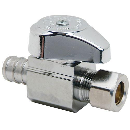 BrassCraft 1/2 inch Nom. Crimp PEX Barb Inlet x 3/8 inch O.D. Comp. Outlet Brass 1/4-Turn Straight Valve (3-Pack)