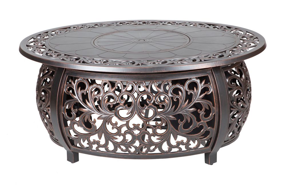 Angie Oval Cast Aluminum Firepit Table