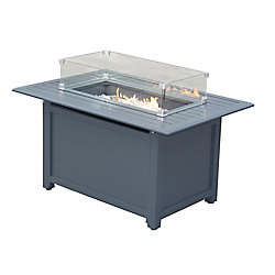 Paramount Gale Rectangular Aluminum Convertible Fire Pit Table with Windscreen
