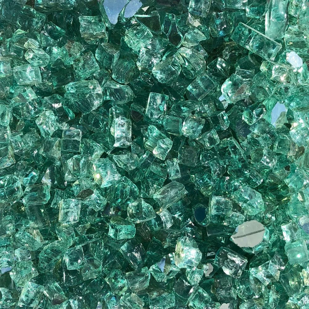 Paramount 2-pack of 10lb jars of Luminous Sea Green reflective fire glass
