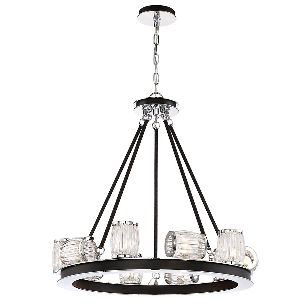Barile Collection, 8-Light Chrome Linear Chandelier
