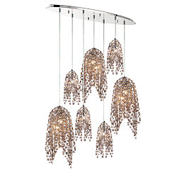 Eurofase Danza Collection, 10-Light Chrome Oval Chandelier