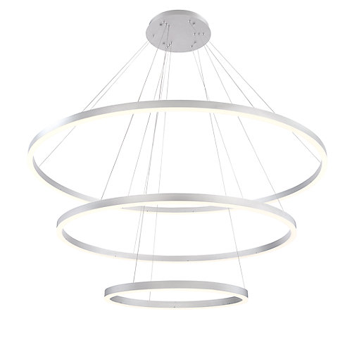 Spunto Collection, Three-Tier LED Silver Chandelier