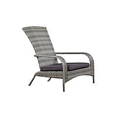 Wicker Muskoka Chair - Light Grey Wicker with Dark Grey Cushion