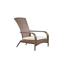 Wicker Muskoka Chair - Caramel Brown Wicker with Beige Cushion
