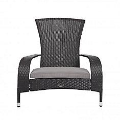 Wicker Muskoka Patio Chair in Brown with Beige Cushion