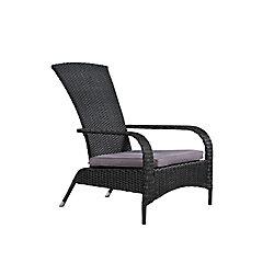 Patioflare Comfort Height Wicker Muskoka Chair - Black Wicker with Dark Grey Cushion