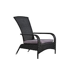 Comfort Height Wicker Muskoka Chair - Black Wicker with Dark Grey Cushion