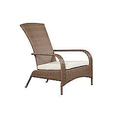 Comfort Height Wicker Muskoka Chair - Caramel Brown Wicker with Beige Cushion