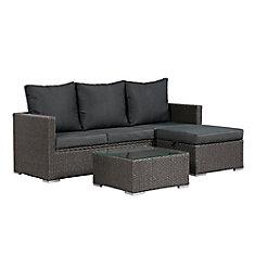 Evan Sofa Set with Storage - Grey Wicker with Dark Grey Cushions