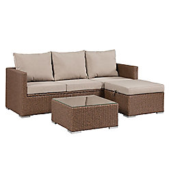 Patioflare Evan Sofa Set with Storage - Brown Wicker with Beige Cushions
