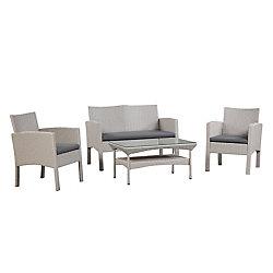 Patioflare Darci 4-Piece Wicker Conversation Patio Set in Grey with Dark Grey Cushions