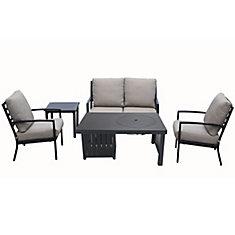 Ensemble de causeuses 5 pièces en aluminium moulé avec table/foyer