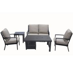 Patioflare 5-Piece Cast Aluminum Chat Set with Fire Pit Table