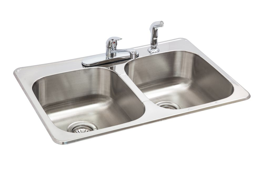 GLACIER BAY ALL-IN-ONE 20G Top Mount Double Kitchen Sink - 20.6inch x 31.3inch x 8 inch deep