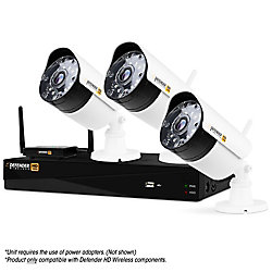 Defender Wireless HD 1080p 4 Channel 1TB DVR Security System with 3 Bullet Cameras