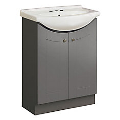 24-inch W Eurostone Vanity Ensemble in Grey with White Porcelain Top