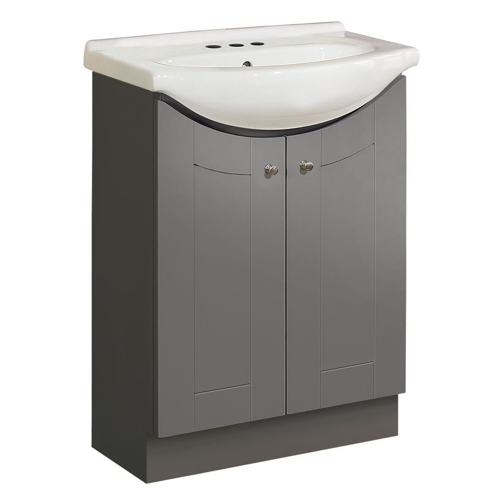Magick Woods 24-inch W Eurostone Vanity Ensemble in Grey with White Porcelain Top