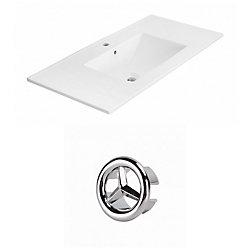 American Imaginations 35.5- inch W 1 Hole Ceramic Top Set In White Colour