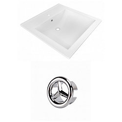 American Imaginations 21.5- inch W 1 Hole Ceramic Top Set In White Colour