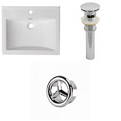 American Imaginations 21- inch W 1 Hole Ceramic Top Set In White Colour - Overflow Drain Incl.