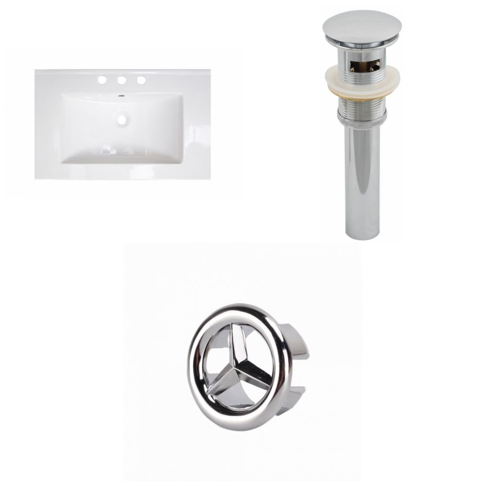 American Imaginations 25- inch W 3H8- inch Ceramic Top Set In White Color - Overflow Drain Incl.