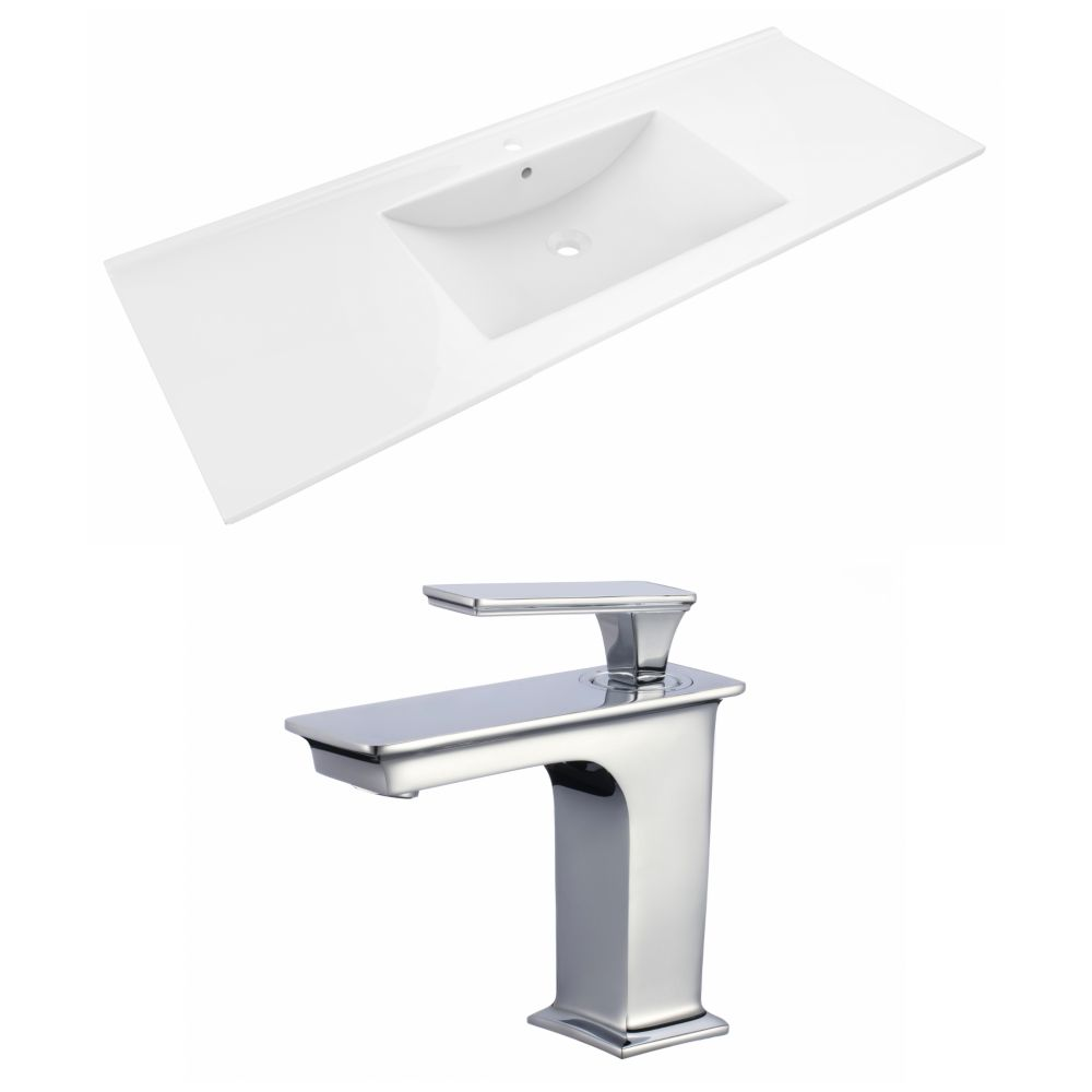 American Imaginations 48- inch W 1 Hole Ceramic Top Set In White Color - CUPC Faucet Incl.