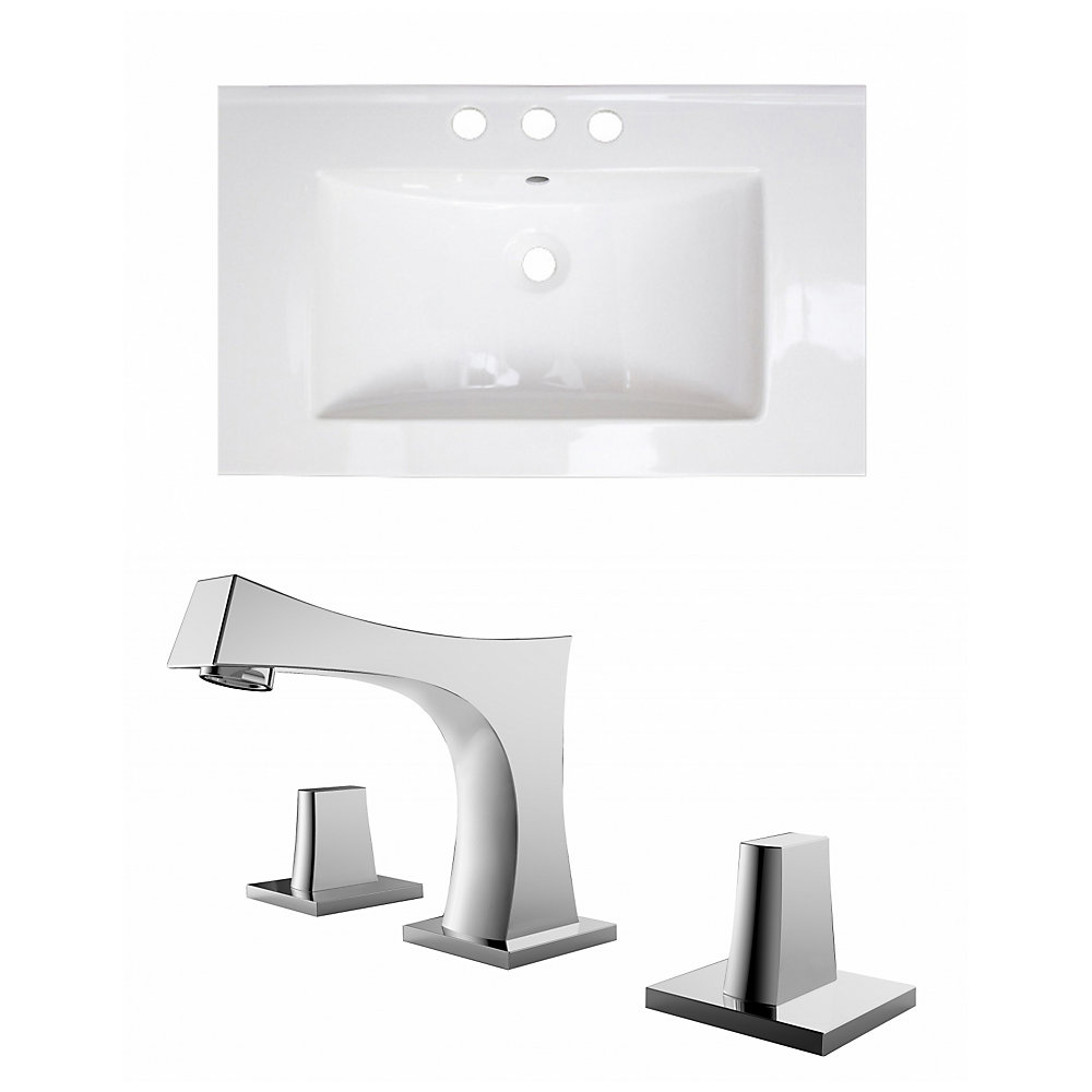 32- inch W 3H8- inch Ceramic Top Set In White Color - CUPC Faucet Incl.