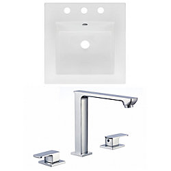 American Imaginations 16.5- inch W 3H8- inch Ceramic Top Set In White Colour - CUPC Faucet Incl.