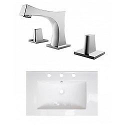 American Imaginations 24- inch W 3H8- inch Ceramic Top Set In White Colour - CUPC Faucet Incl.