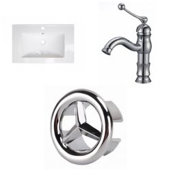 American Imaginations 23.75- inch W 1 Hole Ceramic Top Set In White Color - CUPC Faucet Incl.