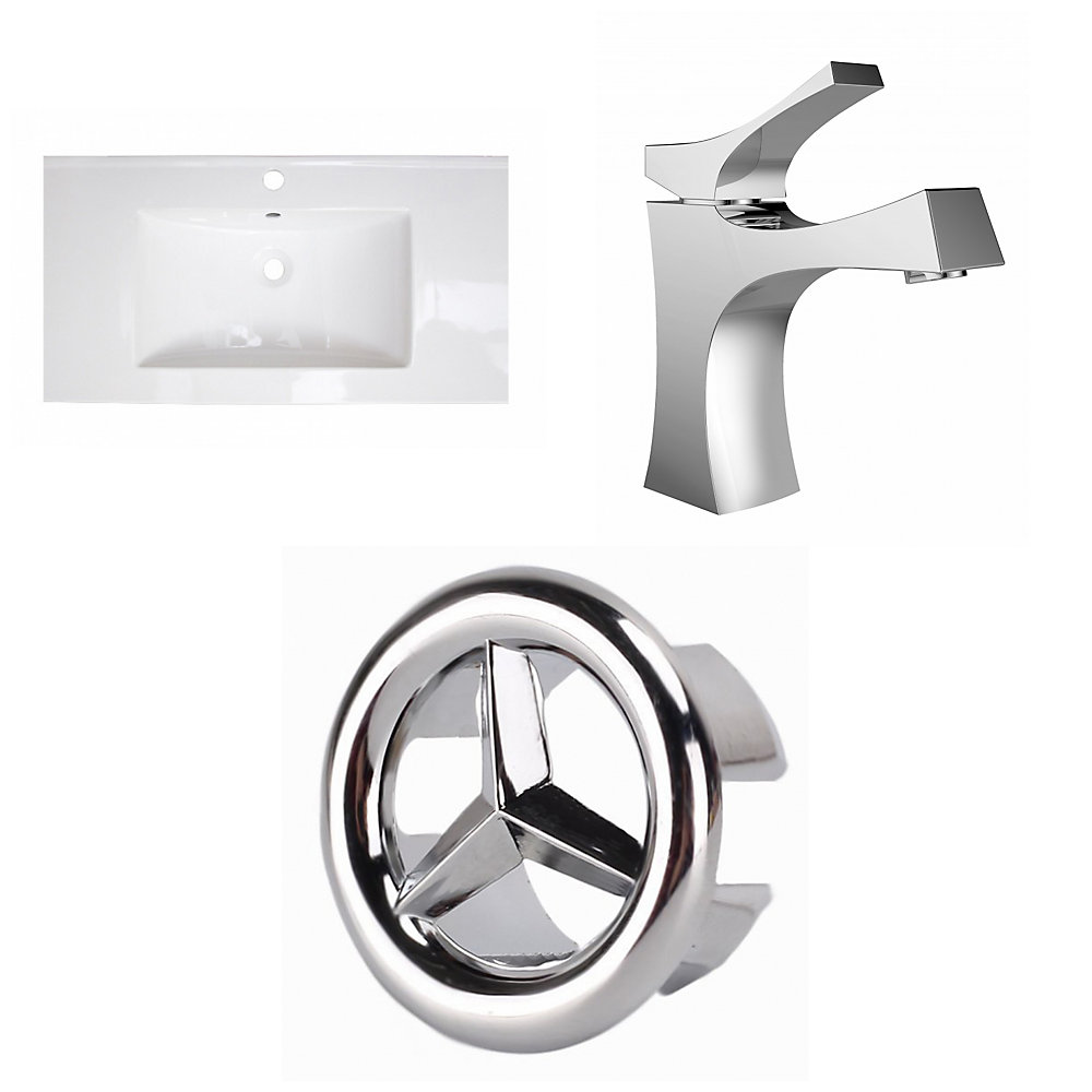 32- inch W 1 Hole Ceramic Top Set In White Color - CUPC Faucet Incl.
