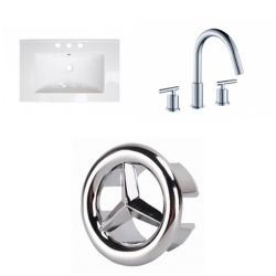 American Imaginations 23.75- inch W 3H8- inch Ceramic Top Set In White Color - CUPC Faucet Incl.