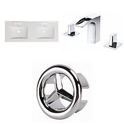 American Imaginations 48- inch W 3H8- inch Ceramic Top Set In White Colour - CUPC Faucet Incl.